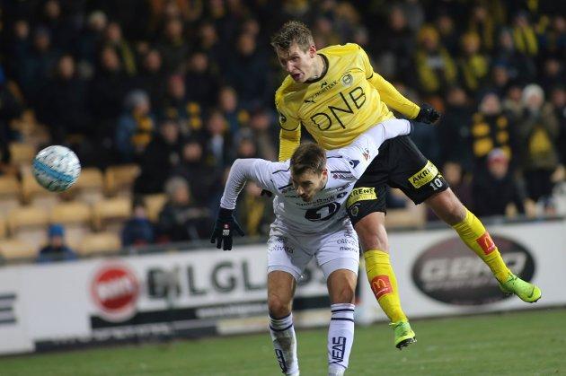 Thomas Lehne Olsen scorer 2-0 målet for Lillestrøm under eliteseriekampen mellom Lillestrøm og Kristiansund på Åråsen stadion lørdag kveld.