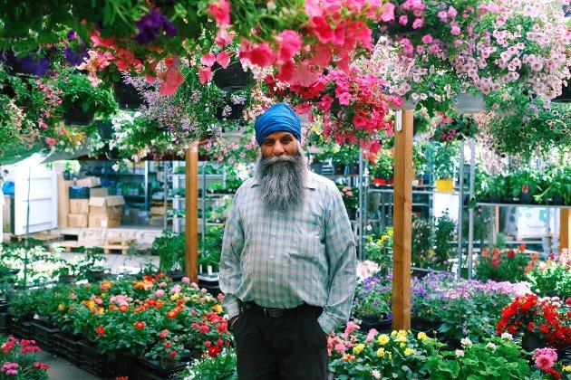 Balkar Singh (55) skal jobbe, jobbe, jobbe denne sommeren. Han og kona selger blomster og norske jordbær på Flaskebekk.