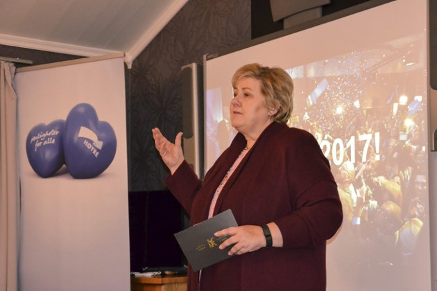 SJEFEN: Statsminister Erna Solberg er regjeringens øverste leder. Her på rørosbesøk i 2017. Arkivfoto Guri Jortveit