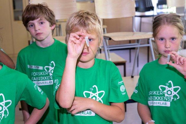 Jon (10)  og Sara (10) fra Ås er noen av de som har drevet etterforskning på forskerfabrikkens sommerskole på Ås ungdomsskole.