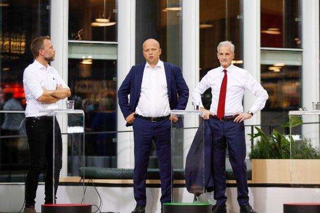 RØDGRØNN TRIO: Partilederne Audun Lysbakken (SV), Trygve Slagsvold Vedum (Sp) og Jonas Gahr Støre (Ap) skal forsøke å snekre en felles politisk plattform, men er avstanden fro stor mellom Sp og SV til at Ap får med begge to i regjering?