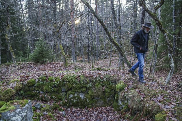 Historisk grunn: Selv om det bare er en liten grunnmur som står igjen, bærer denne husmannsplassen på Heistad med seg mye historie. Knut Hagelia har gjort grundig research, resultatet kan du lese på plakatene han har hengt opp i skogen.Foto: m. stene