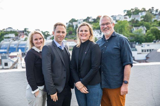 Aust-Agder Arbeiderpartis toppkandidater. Fra venstre Kristine Hallingstad, Tellef Inge Mørland, Cecilie Knibe Hanssen og Per Kristian Lunden.