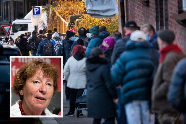 OPPRØRT: Marianne Borgen er, som mange andre, opprørt av de mange matkøene utenfor Fattighuset i Oslo.