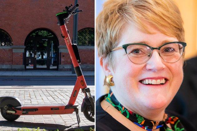 «FANTASTISKE FRIHETSMASKINER»: Venstre-politiker Trine Skei Grande slår et slag for elsparkesykkelen.