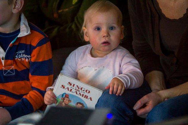 Bokbåten «Epos» får leva vidare. Det feirar folk med kake og flagg. Her er bokbåten på Åsgard. Anniken Espevoll.