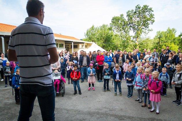 Fyrste skuledag i skuleåret 2017/2018. Sagstad Skule.