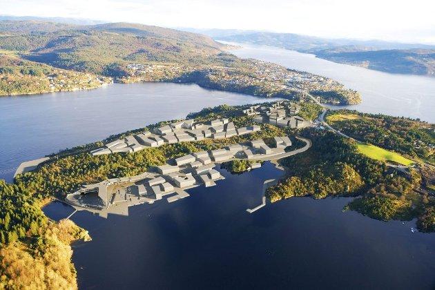 Det er planar om omfattande utbygging av Midtmarka og Rotemyra på Flatøy. Her er ei av skissene som har vore oppe i planarbeidet. Illustrasjonsfoto