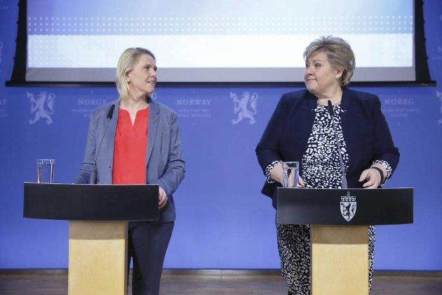 Regjeringens syn: Når statsminister Erna Solberg ikke aktivt går ut og sier noe annet enn justisminister Sylvi Listhaug må vi anta at det er enighet i regjeringen. Foto: Nettavisen