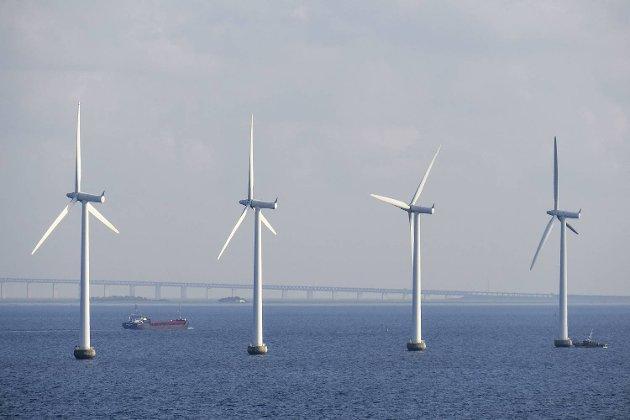 Kan vi kombinere med vindmøller, bro- og veibygging? På bildet ser vi vindmølleparken langs Øresundbroen.