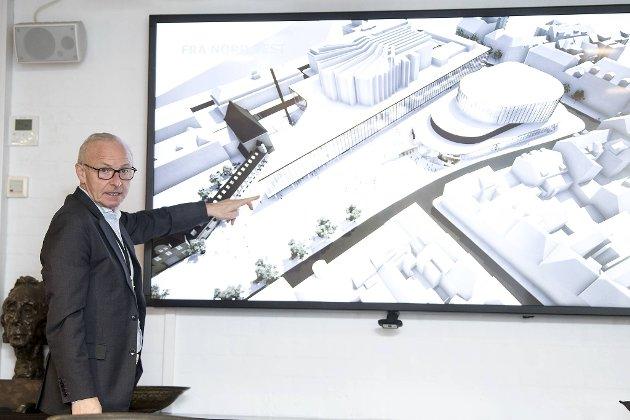 Utbyggingsplanene for Grieghallen og kvartalet rundt bør støttes av de folkevalgte. Her ser vi administrerende direktør i Grieghallen, Olav Munch, presentere de nye planene. FOTO: Skjalg Ekeland