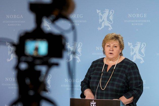 Statsminister Erna Solberg kalte inn til pressekonferanse for å beklage tidligere denne uken. FOTO: NTB