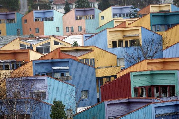 – Hva om en moderne bebyggelse ble gitt et landsbypreg, i stedet for å ha maurtuen som modell? Små hus,                      gjerne tett i tett, med hovedvekt på humanitet istedenfor arealutnyttelse. Slik som bofellesskapet Selegrend i Åsane. FOTO: EIRIK HAGESÆTER