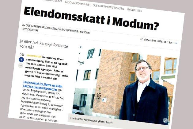 FAKSIMILE: Ole Martin Kristiansens innlegg på bygdeposten.no 22. desember.