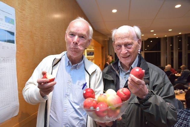 VANT: 64 år gamle Per Olaf Lundteigen (t.v.) er valgets vinner i Buskerud. Her sammen med tidligere stotringsrepresentant Johan Buttedal (82) på valgvaken i Vingen i Vikersund.