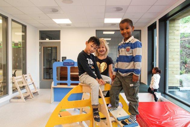 LEKEOMRÅDET: Lucas Li (4), Oda Kjærstad Eik (4) og Elias Kalekristose (5) storkoser seg i barnehagens lekeområde.