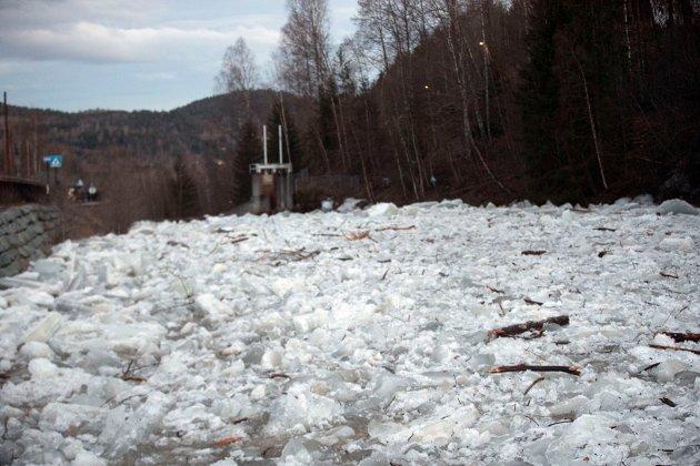 ISGANG: Mildvær og snøsmelting har ført til isgang i Bingselva og store ismengder hoper seg opp foran demningen i Skotselv.