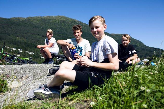 Ikkje alle desse syklistande i Hafstadparken har huska å ta på seg solkrem. f.v. Gabriel Guddal (11), Casper Osen (15), Kent Osar Hellebø (13) Ant Leo Hellebø (8)