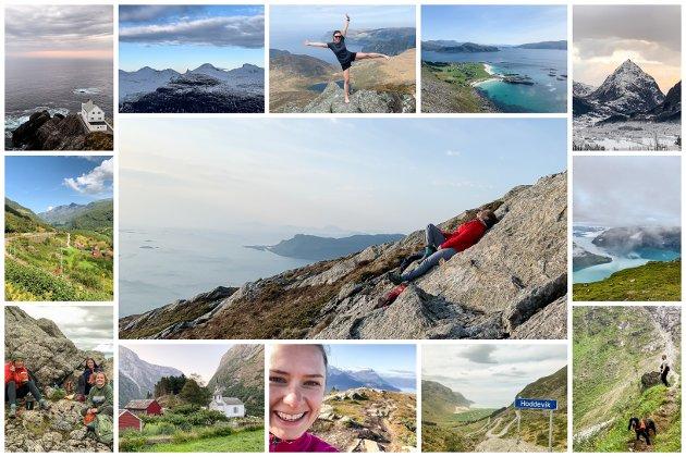 PÅ TUR: Cecilie har vore Sogn og Fjordane rundt og besøkt alle 26 kommunane. Første tur var 17. mars i yste Fjaler, og 22. november var målet nådd på Skredfjellet i Stryn.