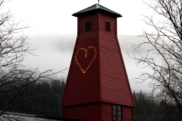 HJARTE: Tårnet på den gamle brannstasjonen ved NRK-bygget.