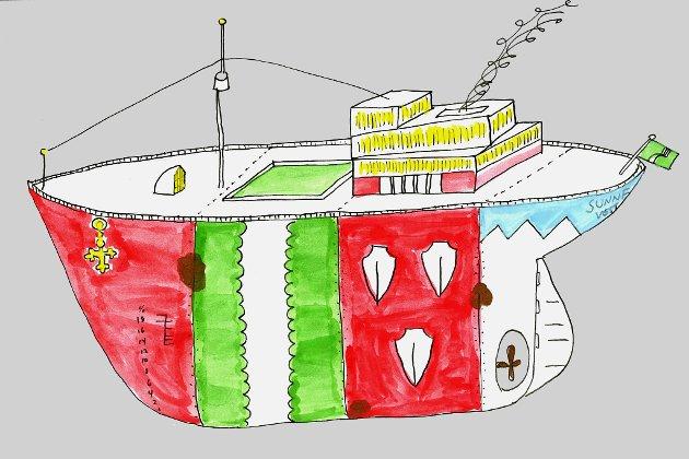 SJØDYKTIG: Kommuneskuta K/S Sunnfjord, eit lappeverk av fire mindre skip.