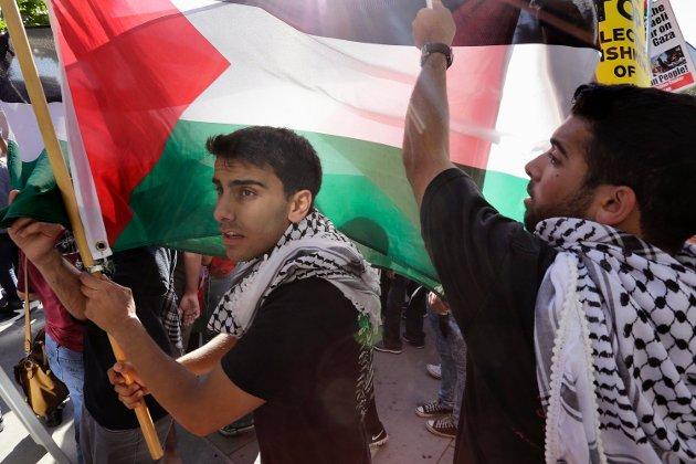 Demonstrasjon mot israelsk voldsbruk på Gazastripen.