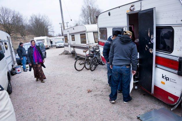 Romfolket er glade for den nye bostedsplassen ved Kiæråsen, er tekst til dette bildet fra mars 2014. Sverre Skaarberg etterlyser alternativ til å drive leiren videre.