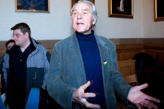Peder Martin Lysestøl (foran) på et bilde fra 2009 der han kjempet for at NTNU i Trondheim skulle gå til akademisk og kulturell boikott av Israel.