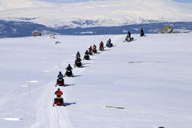 LANG REKKE: Slik ser det ut i de merkede snøscooterløypene sør i Nordland. Dette bildet ble tatt under en arrangert tur.