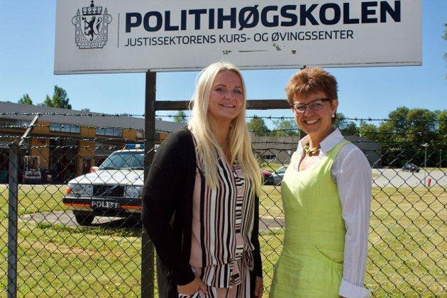 Norge trenger flere politifolk, ikke færre. Senterpartiet vil også i motsetning til regjeringa og FrP beholde UP. Her er stortingsrepr. Åslaug Sem-Jacobsen og Kathrine på Politihøgskolen i Stavern.