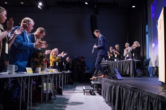 Historisk: Knut Arild Hareides tale til KrF-landsmøtet går inn i historiebøkene. Foto: Håkon Mosvold Larsen, NTB scanpix