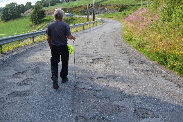 Veg: Slike fylkesveger er det mange av, og utsiktene til bedring er dessverre dårlige.Foto: Siri Sønstelie