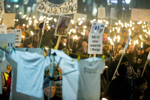 HETT OG HØYLYTT: Slik så flammehavet av protester mot Regjeringens ulvepolitikk ut for to år siden. Tirsdag er det duket for ny demonstrasjon.Foto: Scanpix