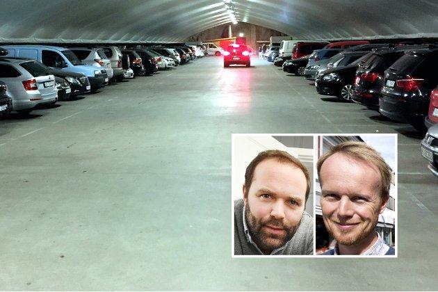 Parkering: Parkering i fjell vil blant annet muliggjøre en utvikling av Stortorget, mener Birger Bakke og Eirik Haagensen.