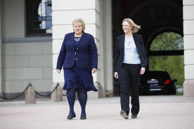 PRESS: Erna Solberg måtte akseptere Frps krav om å få Sylvi Listhaug inn i regjeringen.