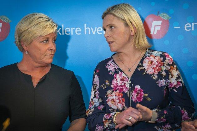 OFFER: Siv Jensen og Sylvi Listhaug er krenket og vil ha «blanke» seiere i Regjeringen.