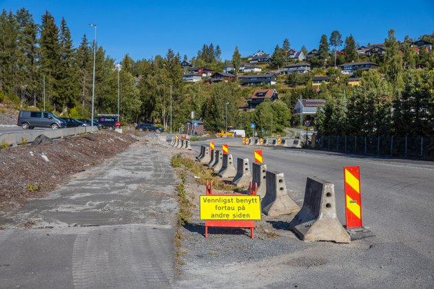 Gangvegene påvirkes av anleggsarbeidet.