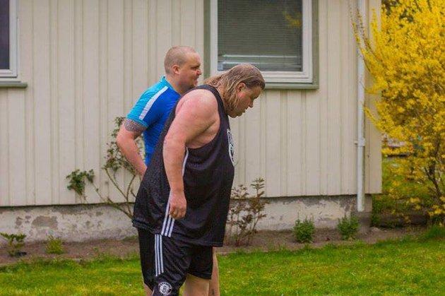 Det er slitsomt å løpe i trapper når man ikke har trent på mange år. Det gikk Stian Thorbjørnsen (til venstre) og Torgeir Hansen erfare.