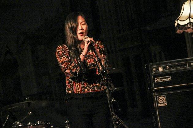 Vakker sang: Amanda Bergstrøm imponerte med vakker sang under Unge folk i Halden.