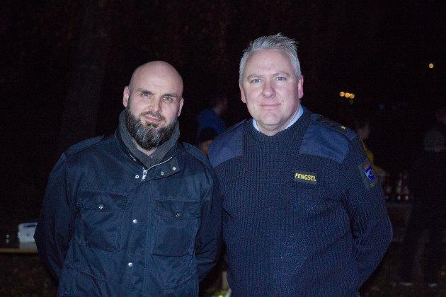 Kriminalomsorgens Yrkesforbund var et av to fagforbund som arrangerte vardebrenningen. F.v: Tor Erik Larsen, Christer Halvorsen