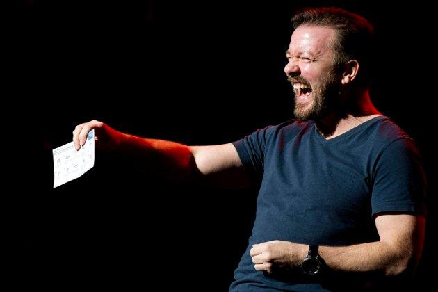 BRITISK HUMOR ER MORO: Ricky Gervais er Storbritannias største komiker de siste ti årene og selger ut de største arenaene. FOTO: AP