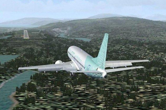 MOT VEST: Slik vil en innflyging til Hauan mot vest arte seg. Ill: Polarsirkelen lufthavnutvikling.