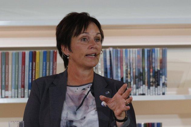 Margunn Ebbesen svarer på kritikken etter debatten i Stormen kulturhus onsdag.