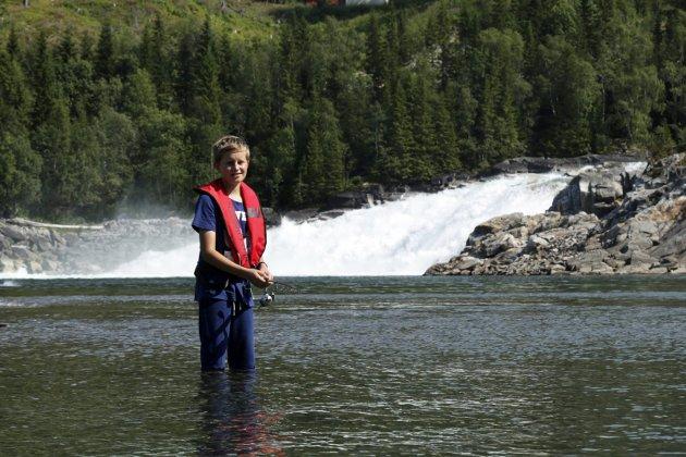 Laksefiske hos Inger Laksfors ved Laksforsen, Håkon Laksfors