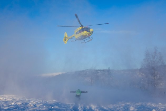 Torsdag øvde nødetatene med ambulansehelikopter i Mosjøen.