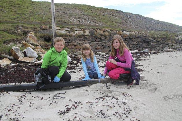 Dugnadsgjeng: Eirik Amundsen (11), Ingrid Amundsen (7) og Sunniva Rushfeldt Amundsen (snart 12).