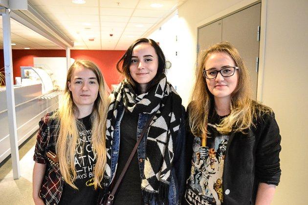 FESTIVALKLARE: Astrid Stenhaug (23, f.v.), Helene Agejeva Jensen (21) og Sigrun Stenhaug (22) skal prøve å få med seg det de rekker over på festivalen.