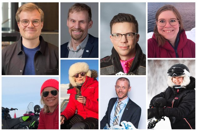 Over fra venstre: Vetle Langedahl, Jo Inge Hesjevik, Jan Ivvar Smuk og Christine Nilssen. Under fra venstre: Ellen Kristina Saba, Marianne Haukland, Ståle Sæther og Hege Christin Bjørkmann.