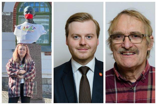 NY BEKLEDNING: Til venstre Oliwia Bakos, som sammen med andre Rødt-politikere fant frem ny bekledning til Rikard Kaarbø. Kristian Eilertsen (Frp) og Frode Bygdnes (til høyre) er ikke enige om det var lurt.