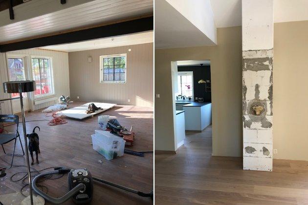 Slik så stua til paret ut da de overtok boligen i mars 2020. Siden har de gjort om alt fra gulv, til vegger og tak.
